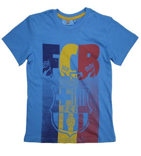 T-SHIRT CHLOPIECY FCB niebieski duza grafika megajunior