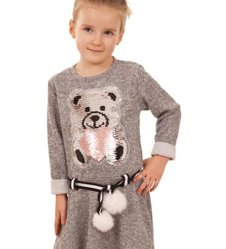 sukienka dla dziewczynki z misiem szary megajunior