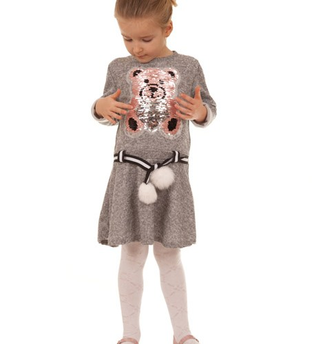 sukienka dla dziewczynki z misiem szary megajunior_4